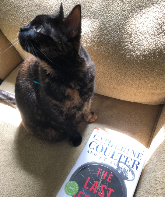 black and orange tortie cat standing next to the book The Last Second by Catherine Coulter and J.T. Ellison